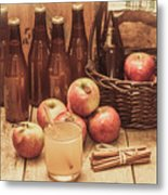 Apples Cider By Wicker Basket On Wooden Table Metal Print