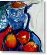Apples In Glass Bowl Metal Print