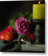 Apples Rose And Candlestick On Tray Stl712923 Metal Print