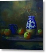 Apples With Vase Metal Print