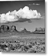 Approaching Monument Valley Black And White Metal Print