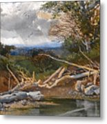 Approaching Storm In A Wooded Landscape Metal Print