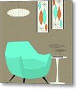 Aqua Chair Metal Print