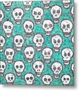 Aqua Skull Pattern Metal Print