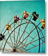 Aquamarine Dream - Ferris Wheel Art Metal Print