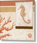 Aquarius I Coral Square Metal Print