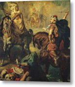 Arab Tribal Chiefs In Single Combat Metal Print by Theodore Chasseriau