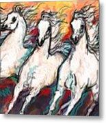 Arabian Sunset Horses Metal Print
