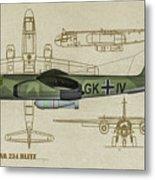 Arado Ar234b-2 - Profile Art Metal Print