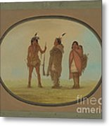 Arapaho Chief, His Wife, And A Warrior Metal Print