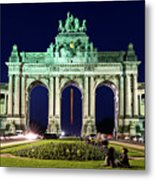 Arcade Du Cinquantenaire At Night - Brussels Metal Print