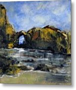 Arch At Pearl Beach Over Cast Metal Print