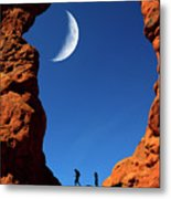 Arch In Canyon Rock Formations Silhouetter Of Hiker Metal Print