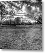 Arch Swing Set In The Park 76 In Black And White Metal Print
