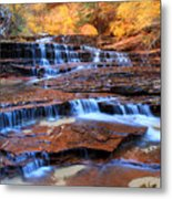 Archangel Falls In Zion National Park Metal Print by Pierre Leclerc Photography