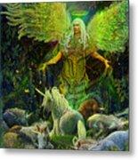 Archangel Raphael Protector Of Unicorns Metal Print