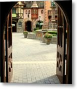 Arched Doorway With A Bavarian View Metal Print