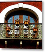 Arched Window With Flowers Metal Print