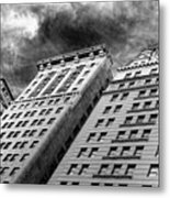 Architecture Tall Buildings Bw Nyc  Metal Print