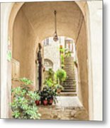 Archway And Stairs In Italy Metal Print