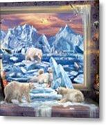 Arctic Bears Coming Metal Print
