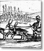 Arctic Sledding, C1618 Metal Print
