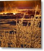 Arctic Sea Smoke Sunrise Metal Print