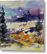 Ardennes Landscape Watercolor Metal Print