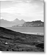 Ardnamurchan Landscape Toward The Islands Of Eigg And Rhum.    Black And White Metal Print
