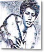 Aretha Franklin Portrait In Blue Metal Print