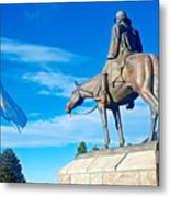 Argentinian Flag And Julio Roca-1843 To 1914-sculpture In Central Park In Bariloche-argentina  Metal Print