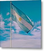Argentinian Flag In Central Park In Bariloche-argentina  Metal Print