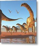 Argentinosaurus Herd Metal Print