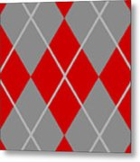Argyle Diamond With Crisscross Lines In Paris Gray N02-p0126 Metal Print