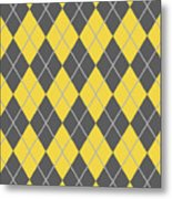 Argyle Diamond With Crisscross Lines In Pewter Gray N05-p0126 Metal Print