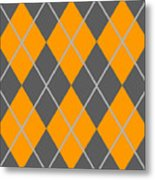 Argyle Diamond With Crisscross Lines In Pewter Gray T03-p0126 Metal Print
