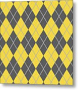 Argyle Diamond With Crisscross Lines In Pewter Gray T05-p0126 Metal Print
