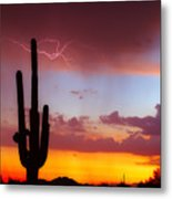 Arizona Lightning Sunset Metal Print