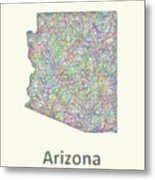 Arizona Line Art Map Metal Print