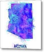 Arizona Map Watercolor 2 Metal Print