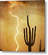 Arizona Saguaro Lightning Strike Poster Print Metal Print