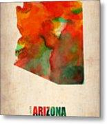 Arizona Watercolor Map Metal Print