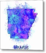 Arkansas Map Watercolor 2 Metal Print