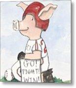 Arkansas Razorback Baseball Piggy Metal Print by Annie Laurie