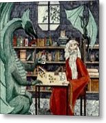 Arleas And The Wizard - Green Metal Print
