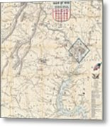 Army Map Of Seat Of War In Virginia 1862 Metal Print