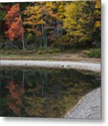 Around The Bend- Hiking Walden Pond In Autumn Metal Print
