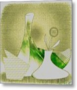Arrangement In Green And Yellow Metal Print
