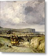 Arrival Of A Stagecoach At Treport Metal Print