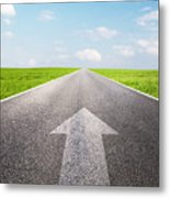 Arrow Sign Pointing Forward On Long Empty Straight Road Metal Print
